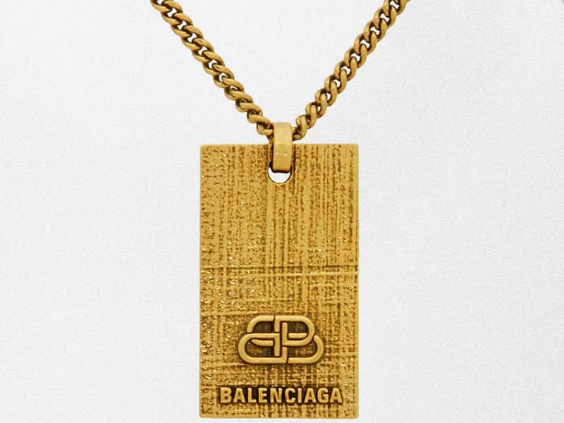 "Wishlist: The Balenciaga ""BB"" dog tag necklace in gold and silver"