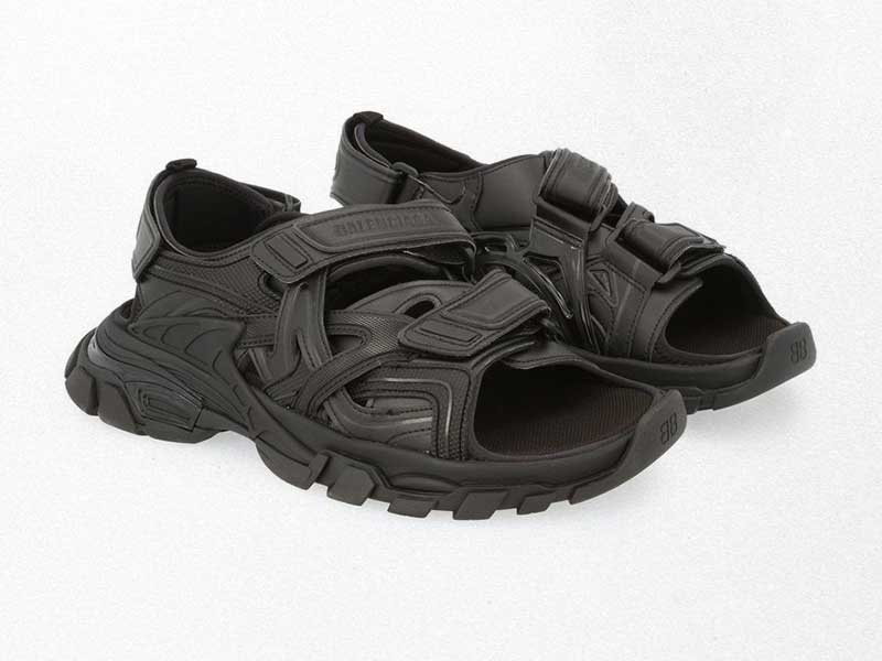 Balenciaga track sandals now in black matte